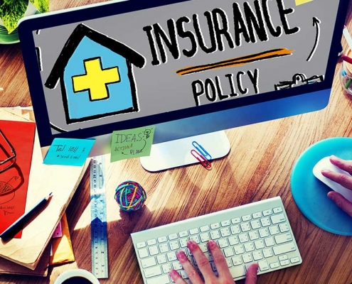 Computer showing Insurance Policy graphic
