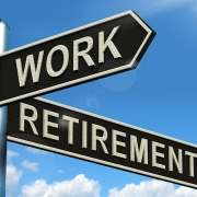Street signs displaying Work & Retirement