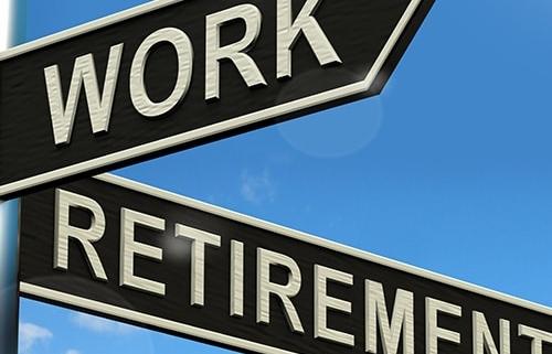 Street signs displaying Work & Retirement
