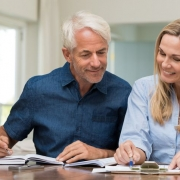 Older couple engaged in retirement planning.