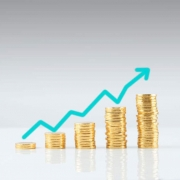 Stacks of coins showing increasing growth or profits.